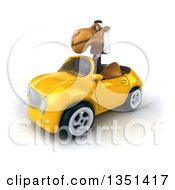 Clipart Of A 3d Arabian Business Camel Driving A Yellow Convertible Car To The Left Royalty Free Illustration