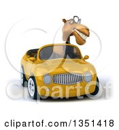Clipart Of A 3d Bespectacled Business Camel Driving A Yellow Convertible Car Royalty Free Illustration