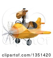 Clipart Of A 3d Arabian Business Camel Aviator Pilot Flying A Yellow Airplane To The Left Royalty Free Illustration