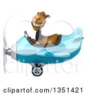 Clipart Of A 3d Business Camel Aviator Pilot Flying A Blue Airplane To The Left Royalty Free Illustration