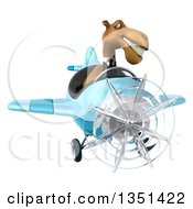 Clipart Of A 3d Business Camel Aviator Pilot Flying A Blue Airplane Royalty Free Illustration