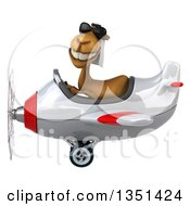 Clipart Of A 3d Arabian Camel Aviator Pilot Wearing Sunglasses And Flying A White And Red Airplane To The Left Royalty Free Illustration