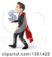 Clipart Of A 3d Super White Businessman Holding A Dollar Currency Symbol And Walking To The Left Royalty Free Illustration by Julos