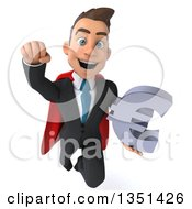 Clipart Of A 3d Super White Businessman Holding A Euro Currency Symbol And Flying Royalty Free Illustration by Julos