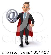 Clipart Of A 3d Super White Businessman Holding An Email Arobase At Symbol And Walking Royalty Free Illustration by Julos