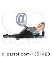Clipart Of A 3d Super White Businessman Holding An Email Arobase At Symbol And Resting On His Side Royalty Free Illustration by Julos