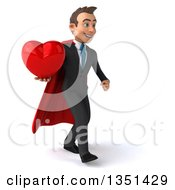 Clipart Of A 3d Super White Businessman Holding A Love Heart And Walking To The Right Royalty Free Illustration by Julos
