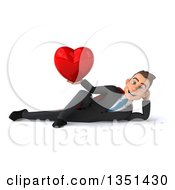Clipart Of A 3d Super White Businessman Holding A Love Heart And Resting On His Side Royalty Free Illustration by Julos