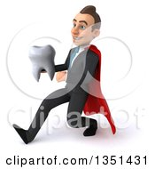 Clipart Of A 3d Super White Businessman Holding A Tooth And Speed Walking To The Left Royalty Free Illustration by Julos