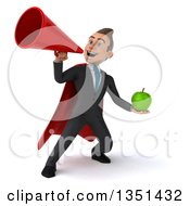 Clipart Of A 3d Super White Businessman Holding A Green Apple And Using A Megaphone Royalty Free Illustration