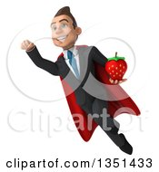 Clipart Of A 3d Super White Businessman Holding A Strawberry And Flying Royalty Free Illustration by Julos