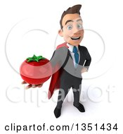 Clipart Of A 3d Super White Businessman Holding Up A Tomato Royalty Free Illustration by Julos
