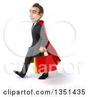 Clipart Of A 3d Super White Businessman Carrying Shopping Bags And Walking To The Left Royalty Free Illustration by Julos