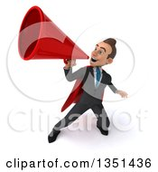 Clipart Of A 3d Super White Businessman Using A Megaphone Royalty Free Illustration
