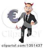 Clipart Of A 3d Young White Devil Businessman Holding A Euro Currency Symbol And Sprinting Royalty Free Illustration