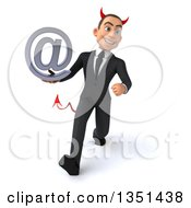 Clipart Of A 3d Young White Devil Businessman Holding An Email Arobase At Symbol And Speed Walking Royalty Free Illustration