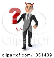 Clipart Of A 3d Young White Devil Businessman Holding A Question Mark And Walking Royalty Free Illustration