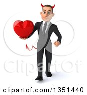 Clipart Of A 3d Young White Devil Businessman Holding A Love Heart And Walking Royalty Free Illustration