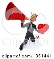 Clipart Of A 3d Young White Devil Businessman Holding A Love Heart And Using A Megaphone Royalty Free Illustration
