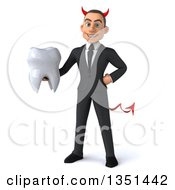 Clipart Of A 3d Young White Devil Businessman Holding A Tooth Royalty Free Illustration