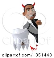 Clipart Of A 3d Young Black Devil Businessman Holding A Tooth Around A Sign Royalty Free Illustration by Julos
