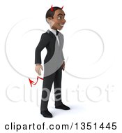 Clipart Of A 3d Young Black Devil Businessman Facing Right Royalty Free Illustration by Julos