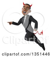 Clipart Of A 3d Young Black Devil Businessman Flying And Pointing Royalty Free Illustration by Julos