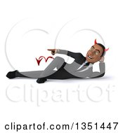 Clipart Of A 3d Young Black Devil Businessman Resting On His Side And Pointing Royalty Free Illustration by Julos