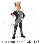 Clipart Of A 3d Young White Devil Businessman Giving A Thumb Down Royalty Free Illustration