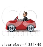 Clipart Of A 3d Young White Businessman Wearing Sunglasses And Driving A Red Convertible Car To The Left Royalty Free Illustration
