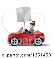 Clipart Of A 3d Young White Businessman Wearing Sunglasses Holding A Blank Sign And Driving A Red Convertible Car To The Left Royalty Free Illustration