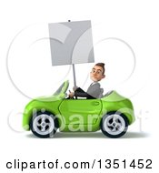 Clipart Of A 3d Young White Businessman Holding A Blank Sign And Driving A Green Convertible Car To The Left Royalty Free Illustration