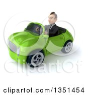 Clipart Of A 3d Young White Businessman Driving A Green Convertible Car To The Left Royalty Free Illustration