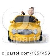 Clipart Of A 3d Young White Businessman Giving A Thumb Down And Driving A Yellow Convertible Car Royalty Free Illustration