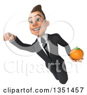 Clipart Of A 3d Young White Businessman Holding A Navel Orange And Flying Royalty Free Illustration by Julos