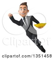 Clipart Of A 3d Young White Businessman Holding A Banana And Flying Royalty Free Illustration by Julos