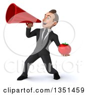Clipart Of A 3d Young White Businessman Holding A Tomato And Using A Megaphone Royalty Free Illustration