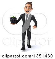 Clipart Of A 3d Young White Businessman Holding A Blackberry And Walking Royalty Free Illustration