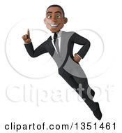 Clipart Of A 3d Young Black Businessman Flying And Holding Up A Finger Royalty Free Illustration