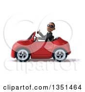 Clipart Of A 3d Young Black Businessman Wearing Sunglasses Giving A Thumb Up And Driving A Red Convertible Car To The Left Royalty Free Illustration