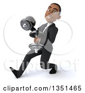 Clipart Of A 3d Young Black Businessman Speed Walking To The Left With Dumbbells Royalty Free Illustration
