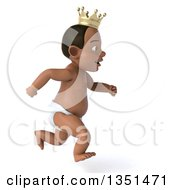 Clipart Of A 3d Black Baby Boy Wearing A Crown And Sprinting To The Right Royalty Free Illustration