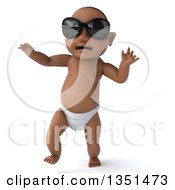 Clipart Of A 3d Black Baby Boy Wearing Sunglasses And Walking Royalty Free Illustration