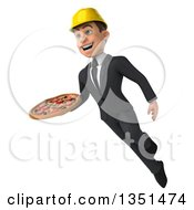 Clipart Of A 3d Young White Male Architect Holding A Pizza And Flying Royalty Free Illustration by Julos