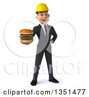 Clipart Of A 3d Young White Male Architect Holding A Double Cheeseburger Royalty Free Illustration by Julos