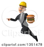 Clipart Of A 3d Young White Male Architect Holding A Double Cheeseburger Flying And Pointing Royalty Free Illustration by Julos