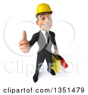 Clipart Of A 3d Young White Male Architect Carrying Shopping Bags And Holding Up A Thumb Royalty Free Illustration by Julos