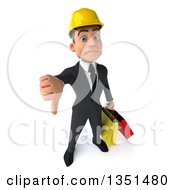 Clipart Of A 3d Young White Male Architect Carrying Shopping Bags And Holding Up A Thumb Down Royalty Free Illustration