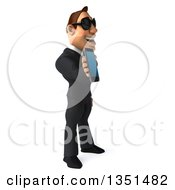 Clipart Of A 3d Macho White Businessman Wearing Sunglasses And Facing Right Holding A Smart Phone Royalty Free Illustration by Julos