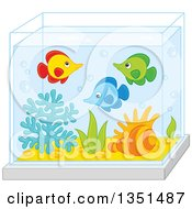 Clipart Of Cute Marine Fish In An Aquarium Royalty Free Vector Illustration